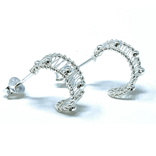 Crescent Half Hoop Sterling Silver Earrings - SeaSpray Jewelry