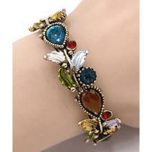 Multi Color Crystal Adjustable Flower Bangle Bracelet In Gold - Costume Jewelry For Women