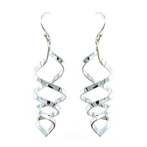 Curled Spiral Sterling Silver Dangle Earrings - SeaSpray Jewelry