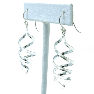 Curved Spiral Dangle Sterling Silver Earrings - SeaSpray Jewelry