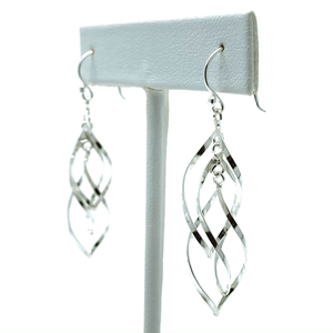 Curved Twist Dangle Sterling Silver Earrings - SeaSpray Jewelry