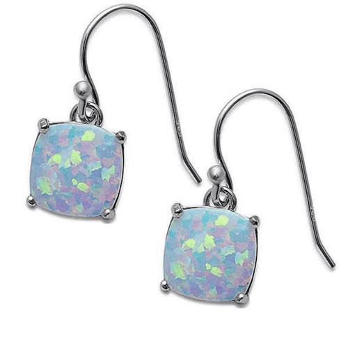 Cushion-Cut White Opal Sterling Silver Square Earrings - SeaSpray Jewelry