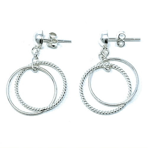 Dancing Link Circle Hoop Sterling Silver Stud Earrings - SeaSpray Jewelry