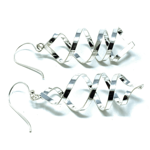 Dangle Curled Spiral Sterling Silver Earrings - SeaSpray Jewelry