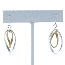 Dangle Matte Silver & Gold Curve Twist Hoop Earrings For Women - Costume Jewelry