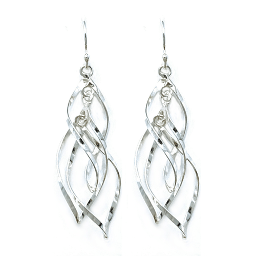 Dangle Sterling Silver Curve Spiral Twist Earrings - Sterling Silver Jewelry