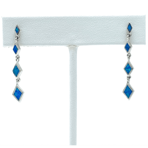Diamond Shape Sterling Silver Blue Opal Earrings - SeaSpray Jewelry