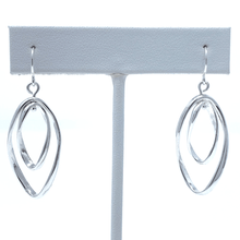 Double Silver Curve Twist Dangle Hoop Earrings For Women - Costume Jewelry