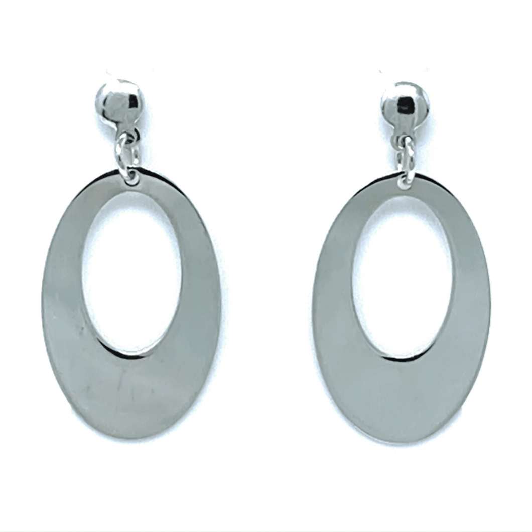 Elongated Oval Sterling Silver Stud Drop Earrings - SeaSpray Jewelry