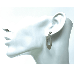 Elongated Oval Stud Sterling Silver Earrings - SeaSpray Jewelry