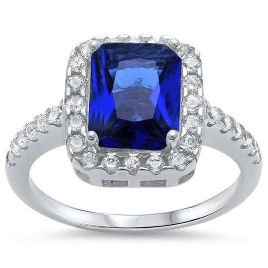 Emerald Cut Blue Sapphire & CZ .925 Sterling Silver Ring For Women - Fashion Jewelry