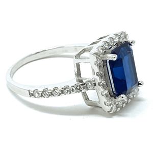 Emerald Cut Blue Sapphire & CZ Sterling Silver Ring For Women - Fashion Jewelry