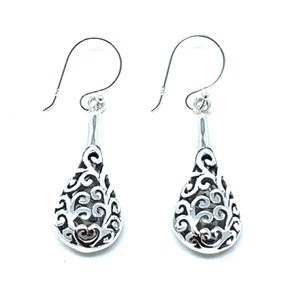 Filigree Open Teardrop Sterling Silver Dangle Earrings - SeaSpray Jewelry