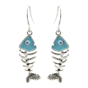 Fish Bone Turquoise & Silver Dangle Earrings - Beach Earrings