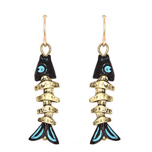 Gold Fish Bone Nautical Dangle Earrings - Fashion Jewelry