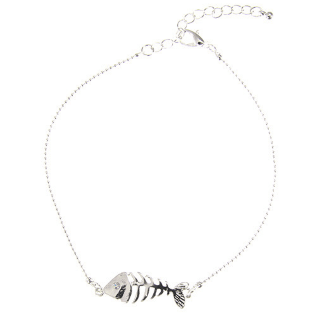 Silver Fish Bone Anklet With Rhinestone Accent - Beach Jewelry