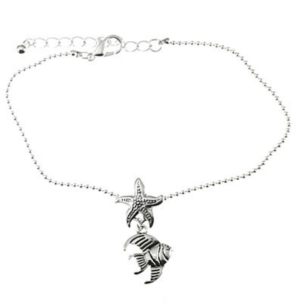 Fish Charm Silver Chain Anklet - Ankle Bracelet - Beach Jewelry