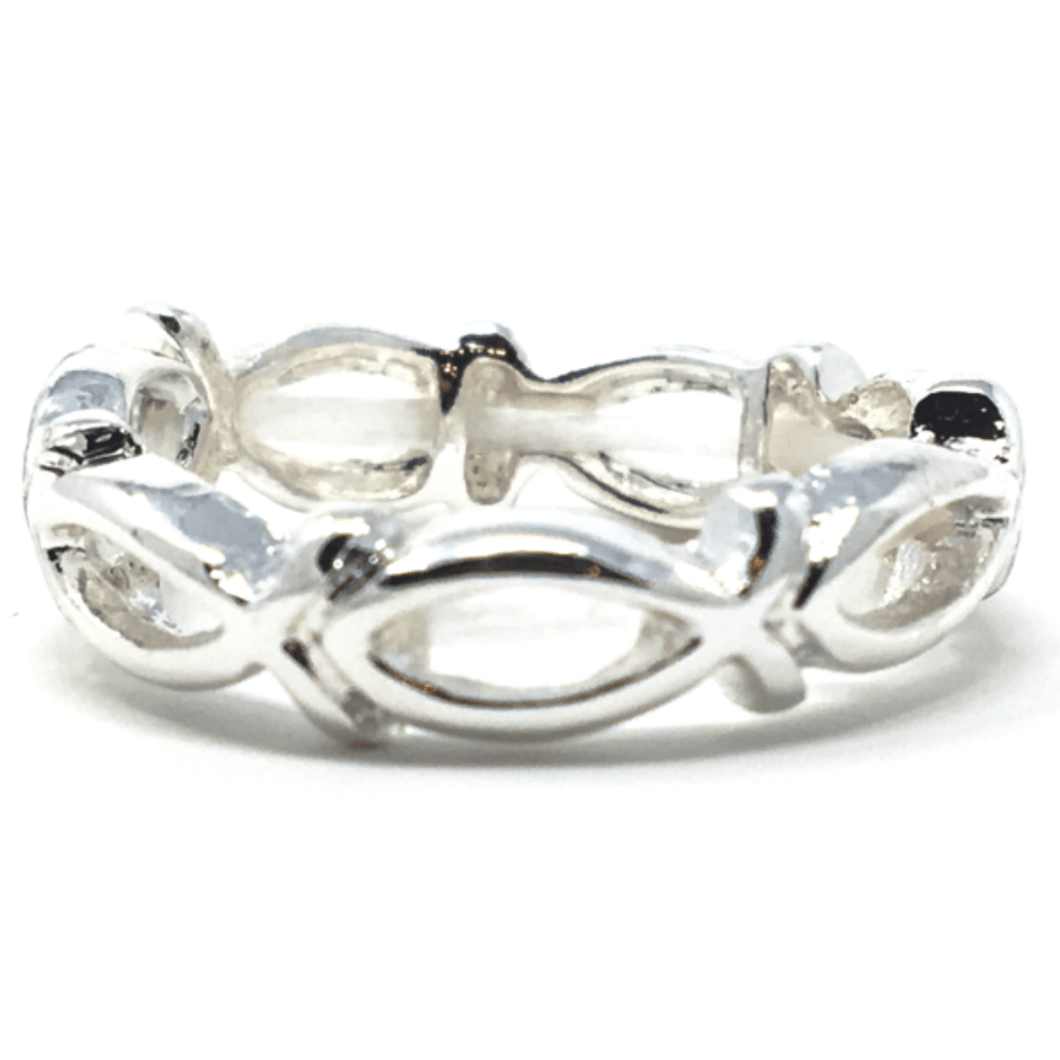 Fish Cutout Silver Stretch Ring