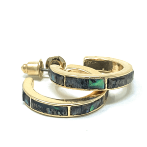 Gold Hoop Earrings With Abalone Inlay