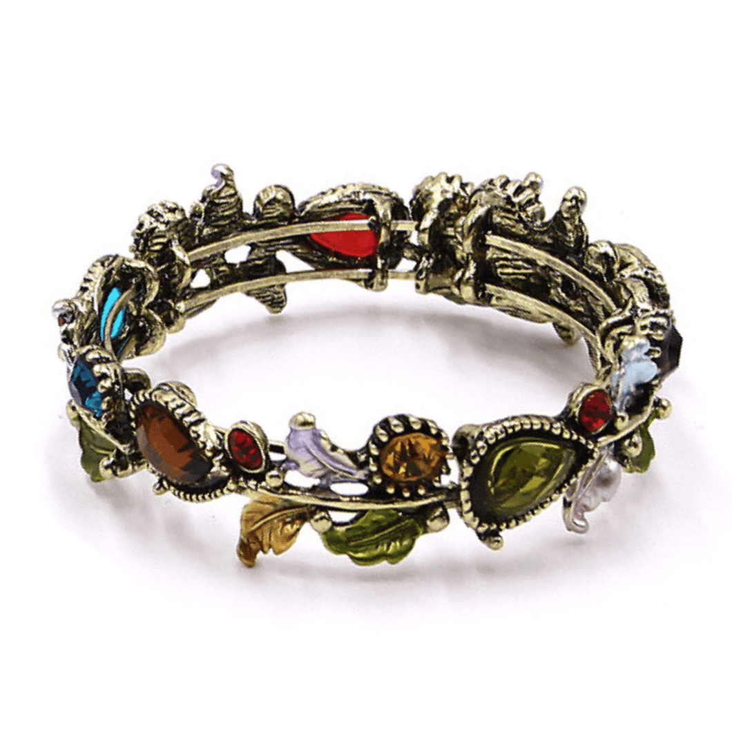 Multi Color Crystal Adjustable Flower Bangle Bracelet In Gold - Fashion Jewelry For Women