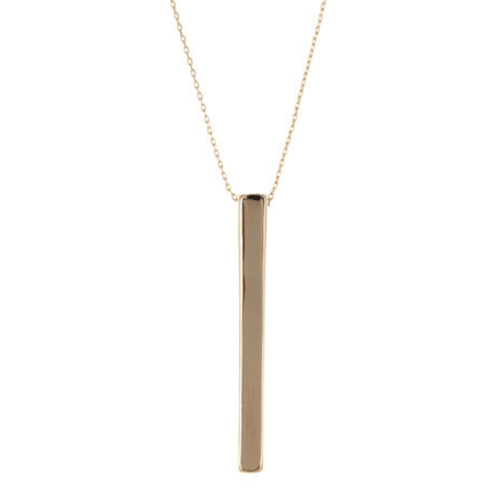 Gold Vertical Bar Pendant Necklace For Women - Fashion Jewelry