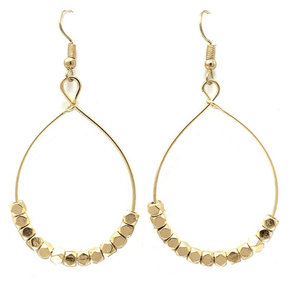Gold Beaded Teardrop Hoop Earrings For Women - Fashion Jewelry