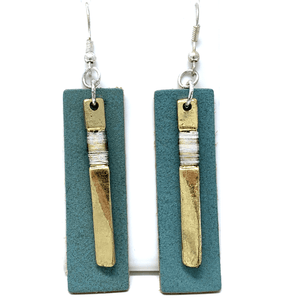 Blue Leather Gold Rectangle Bar Dangle Earrings For Women - Statement Jewelry
