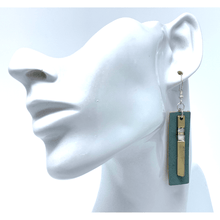 Blue Leather Gold Rectangle Bar Dangle Earrings For Women - Fashion Jewelry