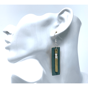 Blue Leather Gold Rectangle Bar Dangle Earrings For Women - Costume Jewelry