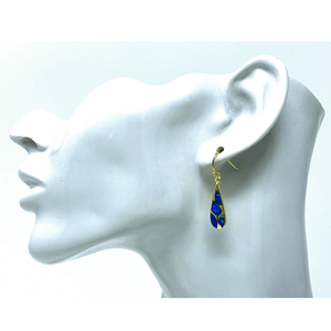 Gold Blue Opal Mosaic Teardrop Earrings - Sterling Silver Jewelry