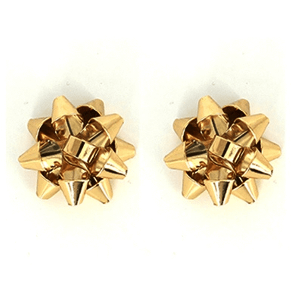 Gold Bow Stud Christmas Earrings - Christmas Jewelry