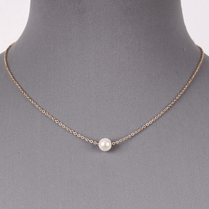 Single Pearl Gold Chain Necklace - Fashion Jewelry