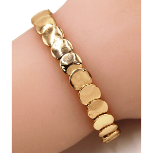 Gold Disc Stacking Stretch Bracelet - Boho Jewelry