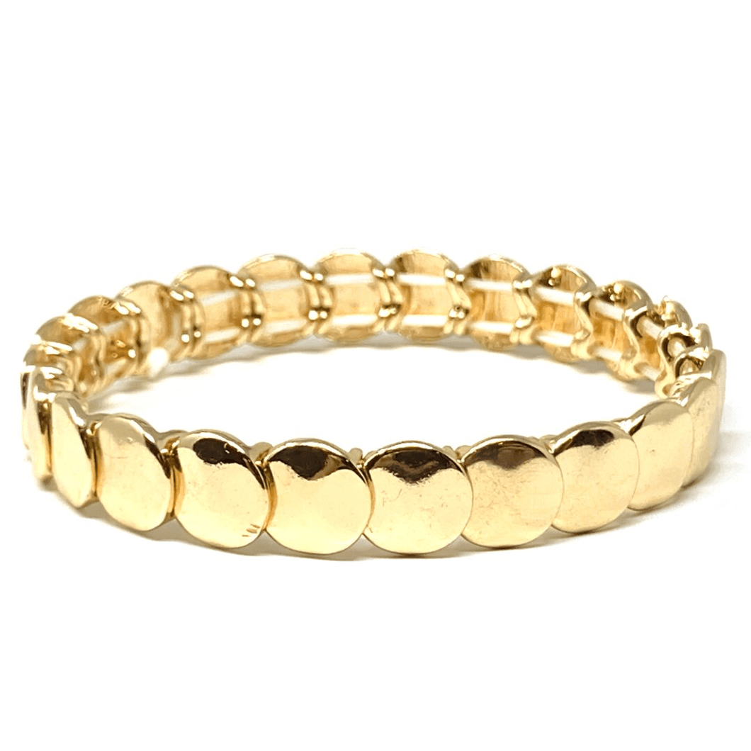 Gold Disc Stacking Stretch Bracelet - Fashion Jewelry