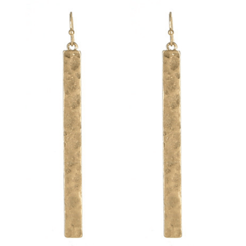 Gold Hammered Rectangle Bar Drop Earrings - Fashion Jewelry