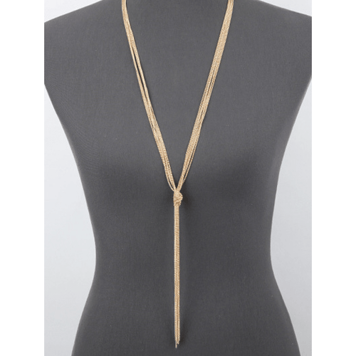 Knotted Gold Multi Chain Lariat Y Necklace - Minimalist Necklace