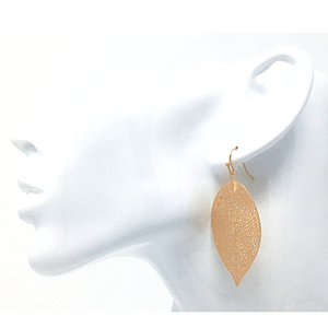 Gold Leaf Dangle Nature Fashion Earrings For Women - Statement Jewelry