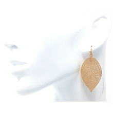 Gold Leaf Dangle Nature Fashion Earrings For Women - Costume Jewelry