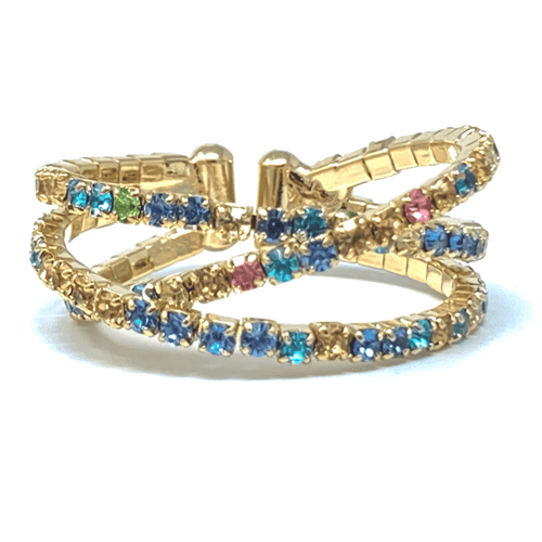 Color Rhinestone Gold Crossover Cuff Style Stretch Ring - Fashion Jewelry