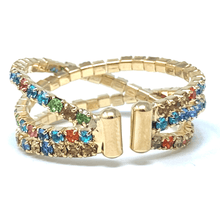 Gold Memory Wire Rhinestone Crossover Cuff Style Stretch Ring - Costume Jewelry