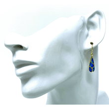 Gold Mosaic Teardrop Blue Opal Earrings - Sterling Silver Jewelry