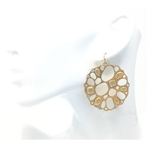 Gold Disc Dangle Earrings - Costume Jewelry