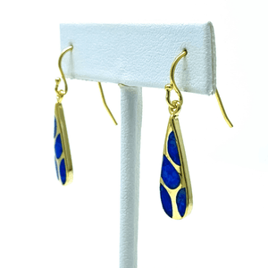 Gold Plated Blue Opal Earrings - Sterling Silver Jewelry