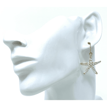 Gold Starfish White Epoxy Dangle Earrings - Beach Jewelry