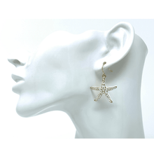 Gold Starfish White Epoxy Overlay Beach Earrings - Fashion Jewelry