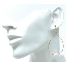 Gold Teardrop Hoop Dangle Freshwater Pearl Earrings For Women - Costume Jewelry