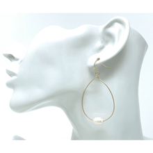Gold Teardrop Hoop Freshwater Pearl Earrings For Women - SeaSpray Jewelry