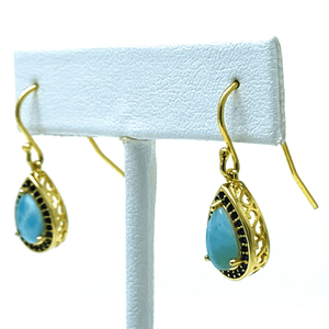 Gold Teardrop Sapphire & Larimar Earrings - SeaSpray Jewelry