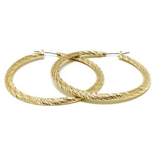 Twisted Flat Back Gold Hoop Earrings - Fashion Jewelry