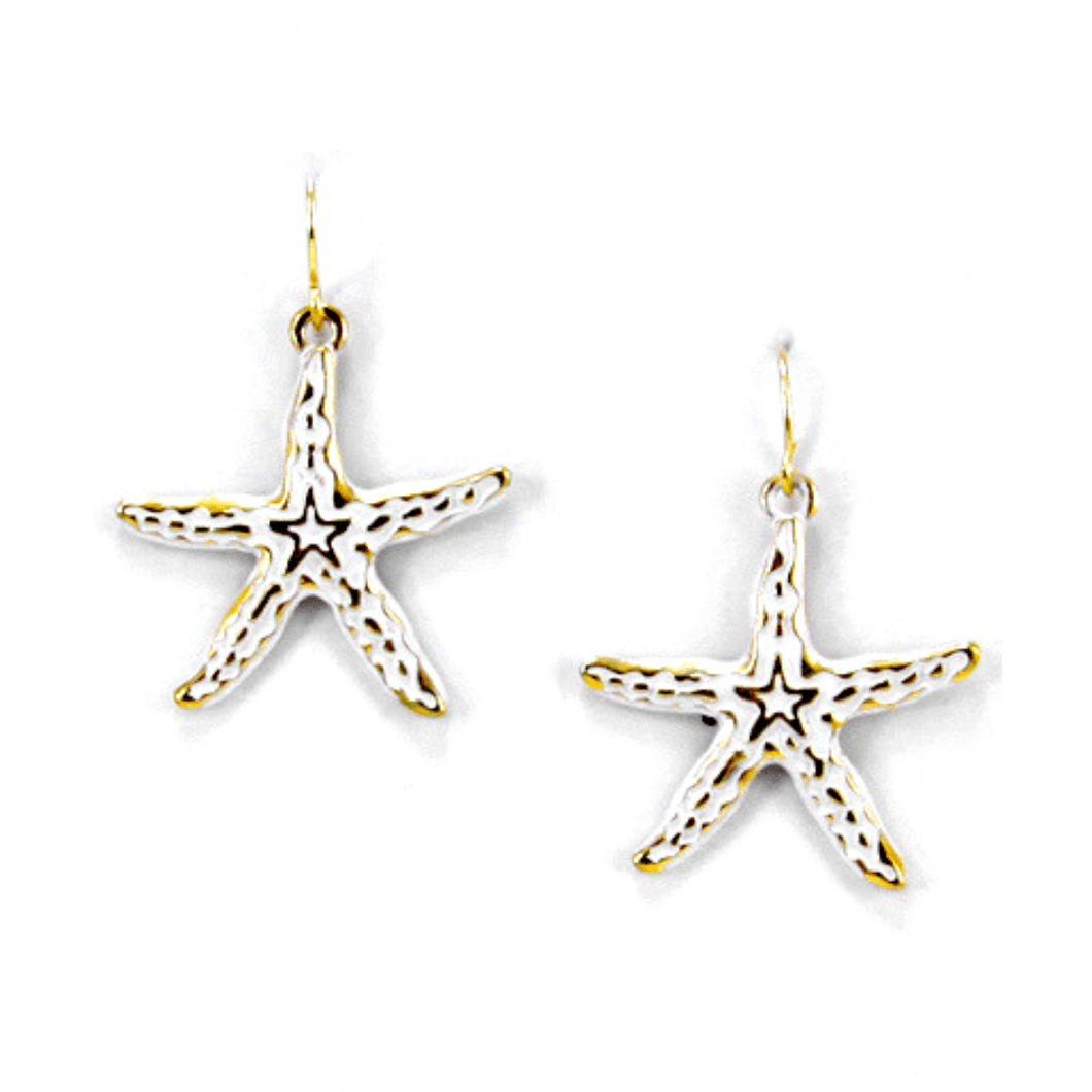 Gold Starfish Dangle Earrings With White Epoxy - Fashion Jewelry